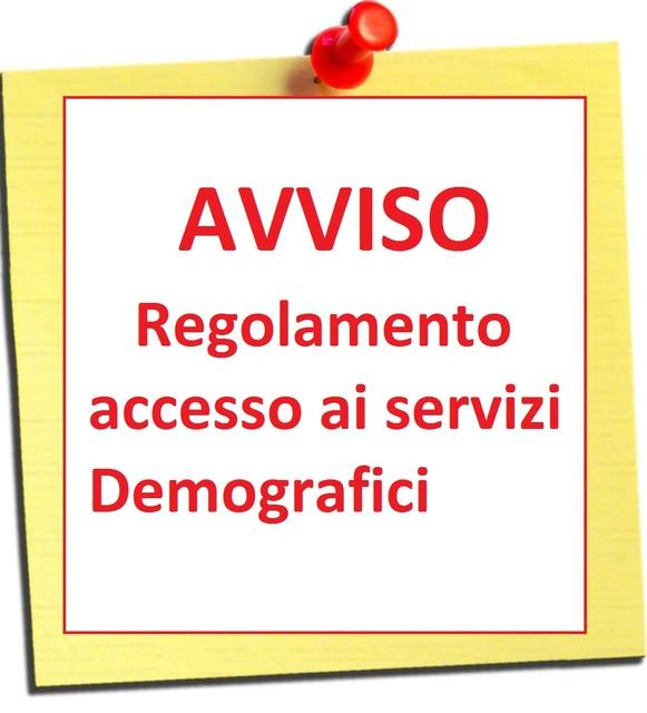 immagine di Regolamentazione accesso Uffici Demografici